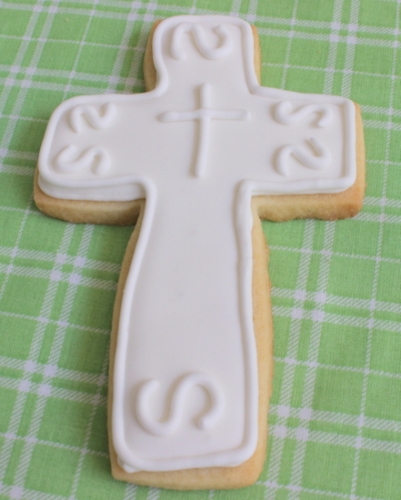 White on white cross cookie