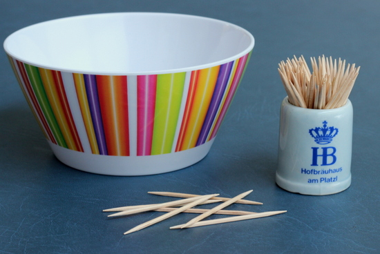 Toothpicks and a bowl
