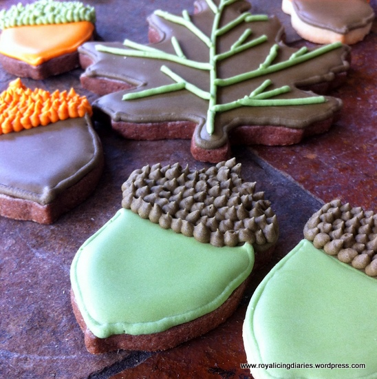 A few leaf and acorn cookies
