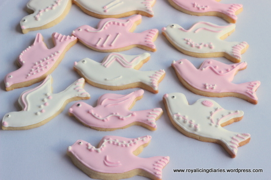 Decorated dove cookies