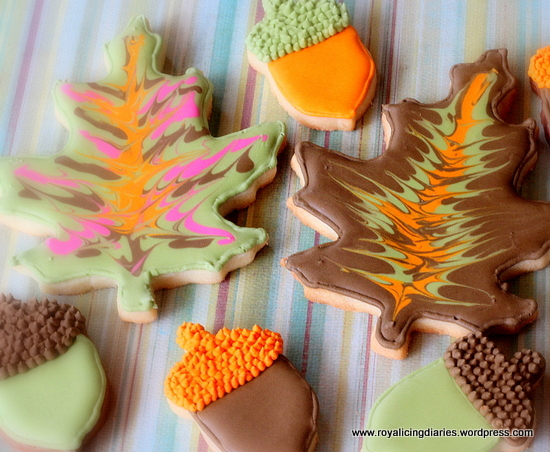 fall leaves and simple acorn cookies