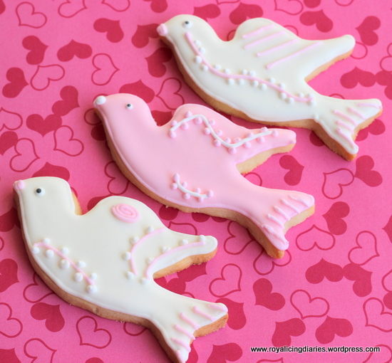 pink and white dove cookies
