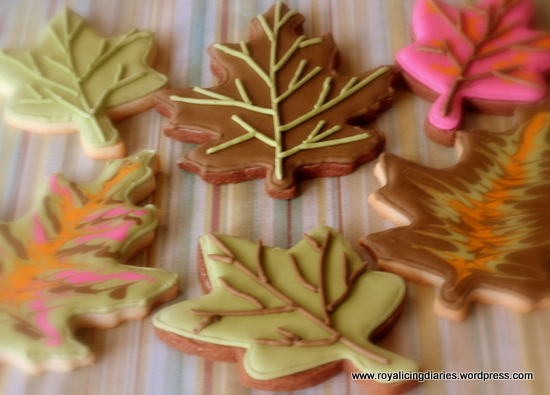 Fall leaves - decorated cookies