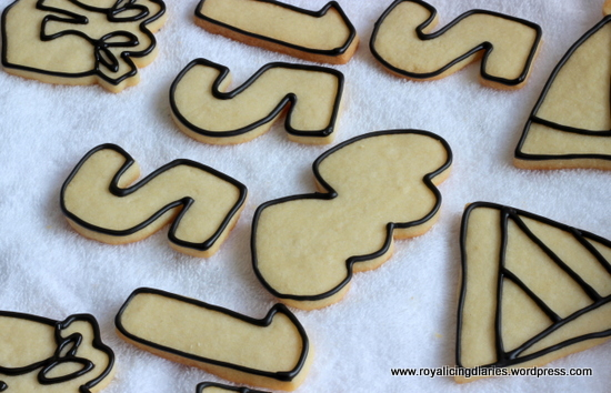Birthday cookies outlined