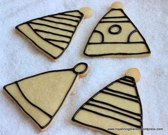 Birthday hat cookies outlined