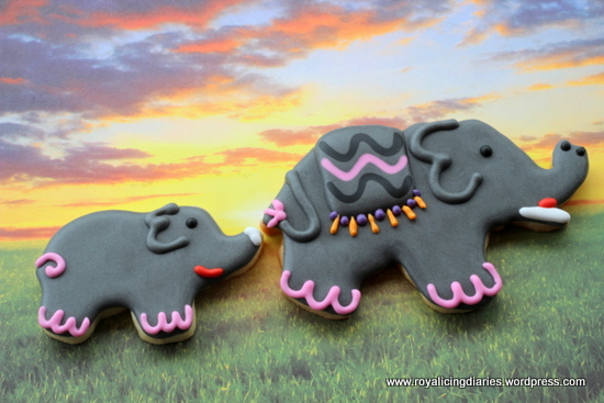 Elephant cookies at sunrise
