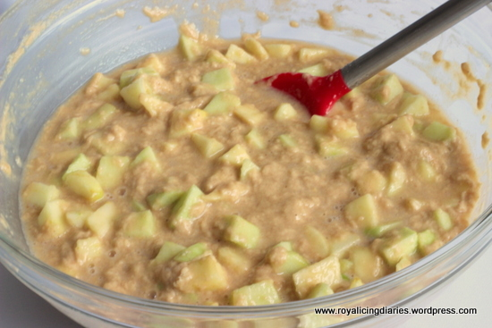 Fold the apples into the apple cake batter