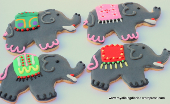 Four of the elephant cookies