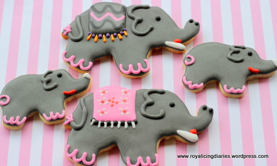 Large and small elephant cookies