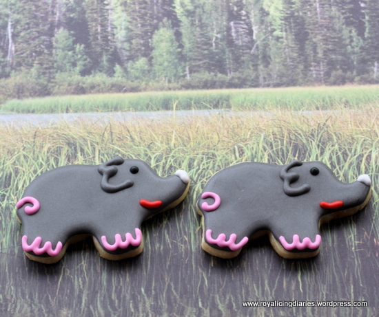 Little elephants cookies - in the grass