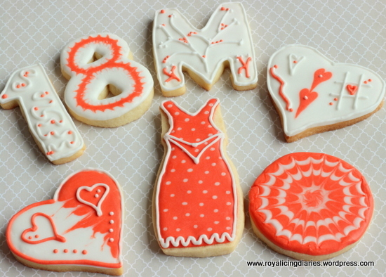 Orange and white birthday cookies