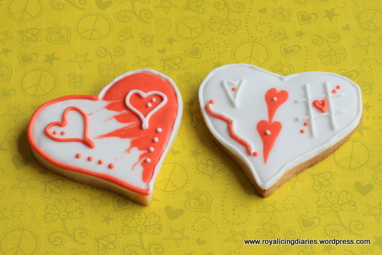 Orange and white heart cookies