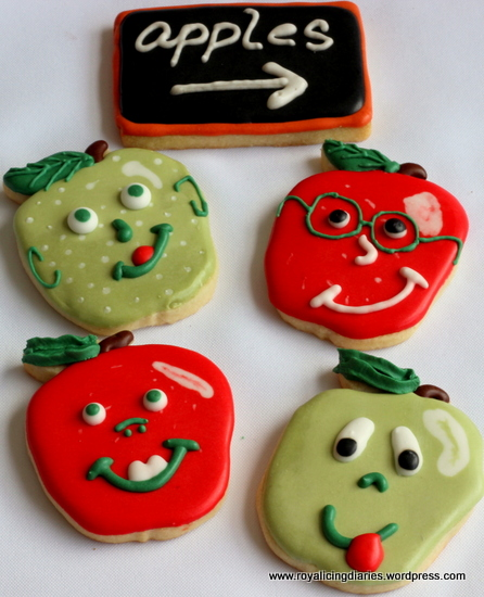 Apple cookies with silly faces