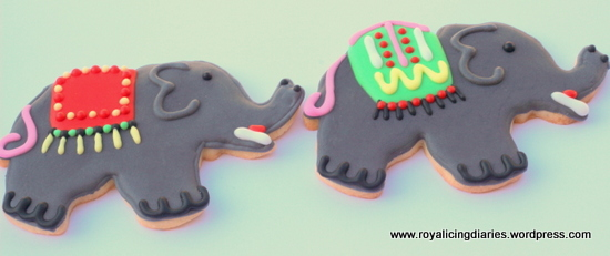 Two of the elephant cookies